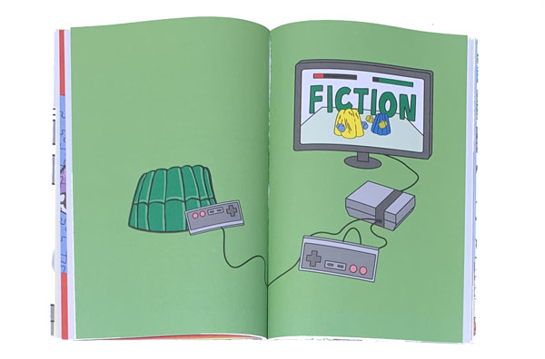 "illustration of computer screen and game controllers, ""FICTION"" appears on the screen"