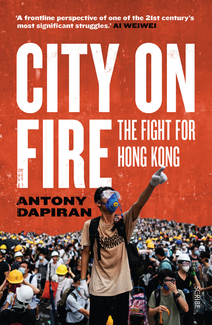 book cover of City on Fire showing image of Hong Kong protestors