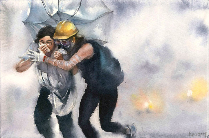 watercolor painting of protestors running from tear gas cloud