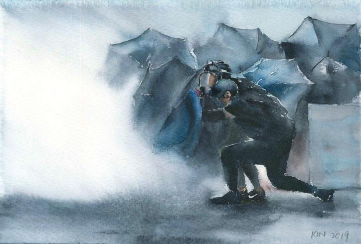 watercolor of two protestors kneeling before a crowd of umbrellas in a cloud of tear gas